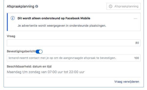 Afspraakvoorkeur Facebook