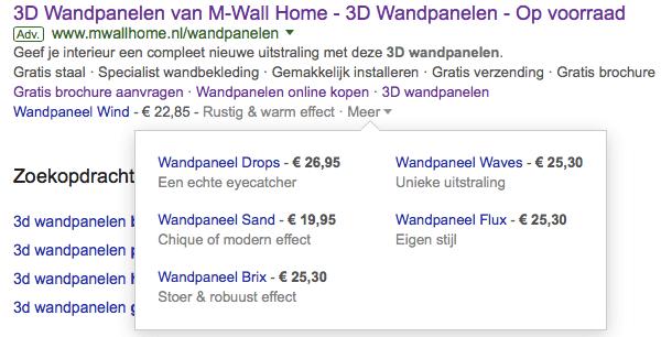 Google Adwords met Prijsextentie