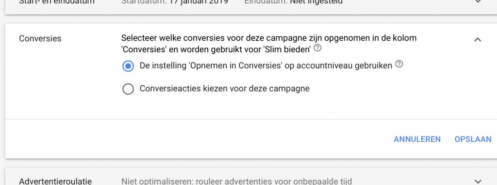 Conversies per campagne in Google Ads