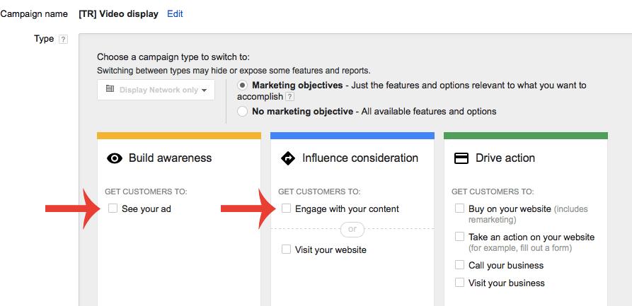 Google Adwords Lightbox Ads Campagne settings