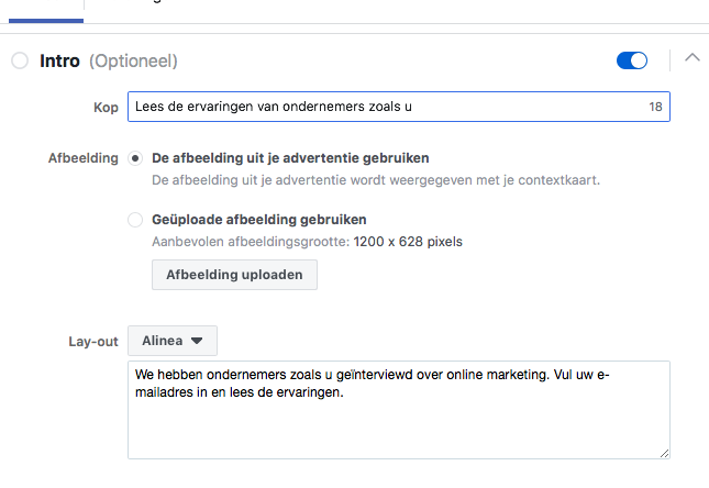 Introtext Facebook Lead ads