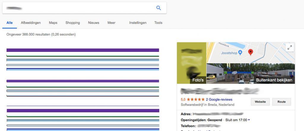 Google My Business met adresgegevens